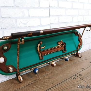 Billiard Pool Cue Wall Shelf Coat Rack by RedsRustyRelics