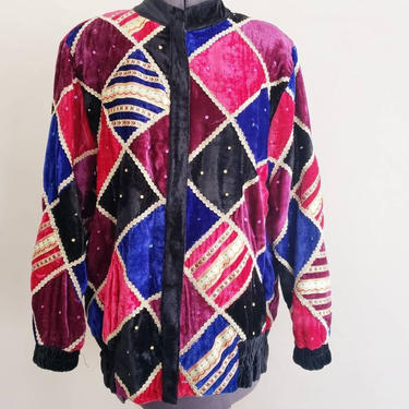 80s Colorful Velvet Jacket Harlequin Pattern / 80s Zipup Jacket with Sequins and Gold Metallic Trim Purple Red Blue Black / Midnite / Medium by RareJuleVintage