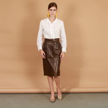 70s Chocolate Brown High Waisted Leather Skirt Vintage Soft Leather Pencil Skirt by AppleBranchesVintage