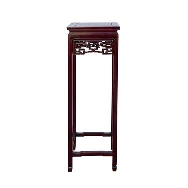 Oriental Square Red Brown Mahogany Stain Plant Stand Pedestal Table ws1608E by GoldenLotusAntiques