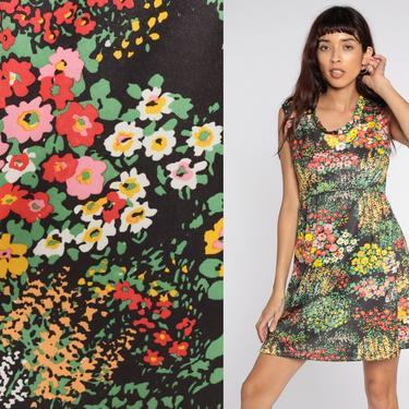 70s Babydoll Dress Floral Mini Dress Black Bright Print Mod Empire Waist 60s Dress Vintage Sleeveless Dress Emilio Borghese Medium by ShopExile