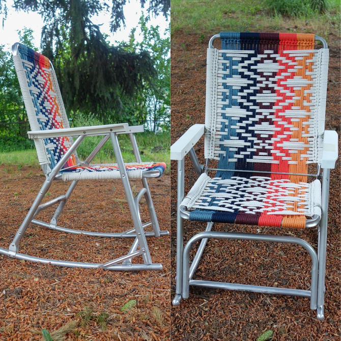 Macrame Rocking Chair, Glamping Vintage Aluminum Frame Woven Lawn Chair, 70s Decor Unique Outdoor Furniture Forest Fathers Custom Lawn Chair by forestfathers