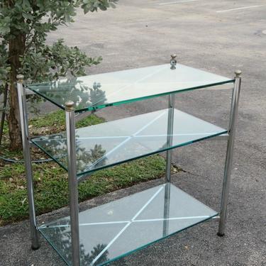Hollywood Regency Chrome and Glass Bar Server Shelf Console Table 2203