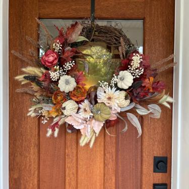 Fall Reds, Browns and Burnt Orange Wreath, Pampas Grass and Hops Wreath, Mauve Fall Wreath, Fall Wreath for Front Door by NovaWreaths