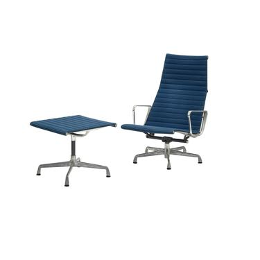 Aluminum group lounge chair and ottoman designed by Charles and Ray Eames for Herman Miller by PeachModern