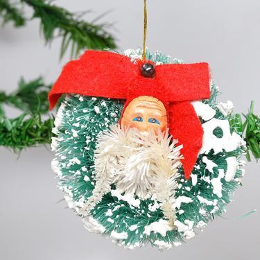 Vintage Sisal Bottle Brush Wreath Ornament with Santa Head, Retro Christmas Decor by exploremag