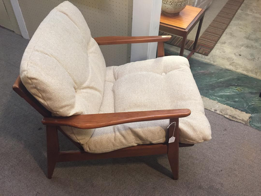 Danish Mcm Lounge Chair With Beige Fabric From Modern