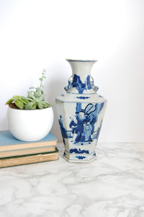 Blue and White Porcelain Vase Antique Chinese Vase Blue White Chinoiserie Decor by PursuingVintage1