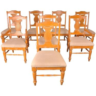 Set of 8 Vintage Pineapple Back Beech Dining Chairs by StandOutSpaces