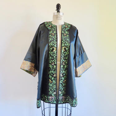 Vintage Midnight Blue and Green Chinese Asian Silk Embroidered Robe Jacket Kimono Coat Butterflies Embroidery Reversible Medium by seekcollect