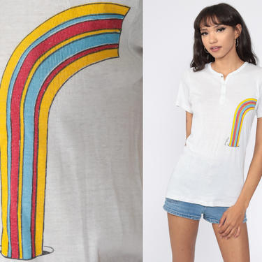 Rainbow Shirt 70s White Rainbow Top Novelty Print Vintage 80s Tshirt Button up Retro Tee 1970s Short Sleeve Single Stitch Paper Thin Small by ShopExile