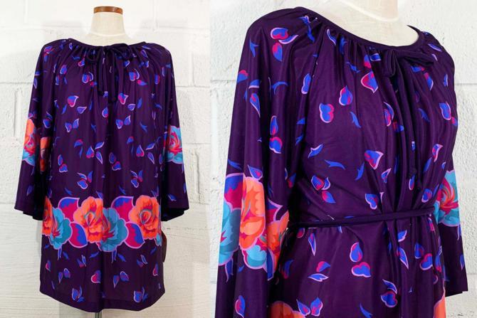 Vintage Floral Print Blouse Tunic Purple Blue Orange 1970s 70s Boho 3/4 Angel Sleeves Hippie NOS Deadstock Plus Volup Curvy 2XL 2X XXL by CheckEngineVintage