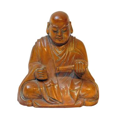 Wood Carved Lo Han Monk Statue In Deep Meditation Praying Position n247E by GoldenLotusAntiques