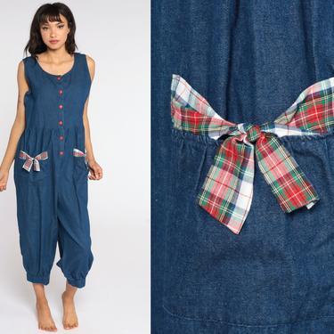 Soft Denim Jumpsuit 80s Button Up Pantsuit Cropped Pants Dark Blue Jumpsuit Vintage Romper 90s Baggy Sleeveless Medium Large by ShopExile