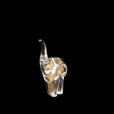 Vintage 1970s Murano Art Glass Elephant Figurine Sculpture Figure with Gilt Center Clear & Gold Italy Italian Whimsical Design by SwankyChaperooo