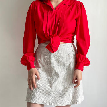 Oversized Red Blouse fits S - L 1980's by BeggarsBanquet