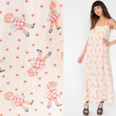 Novelty Print Dress 70s Raggedy Ann Dress Summer Dress Sun Boho Tent Sundress Bohemian Maxi Vintage Trapeze Hippie Festival Small by ShopExile