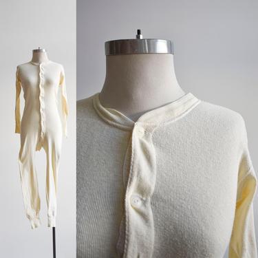 Vintage Off White Cotton Union Suit Long Underwear by milkandice
