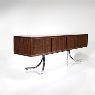 Mid Century Modern Walnut Credenza Rare Sensational Cabinet with Splayed Legs by ReVisionFurniture
