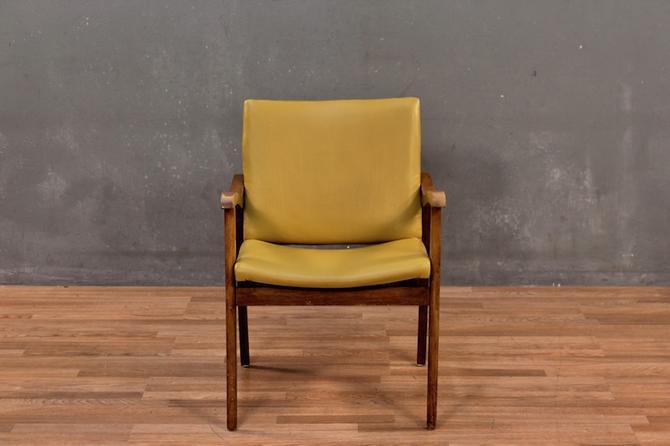 Mid Century Mustard Vinyl & Walnut Armchair
