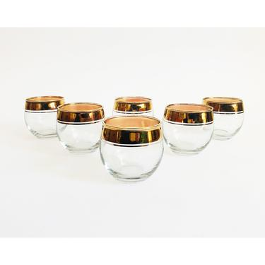 Large Mid Century Gold Rimmed Roly Poly Cocktail Glasses / Set of 6 / Dorothy Thorpe by SergeantSailor