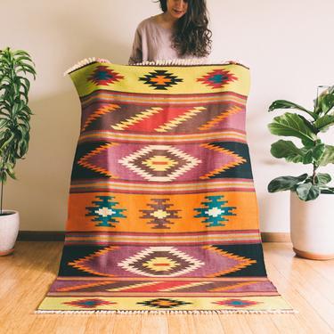 Zal- Geometric Wool woven Persian Kilim - Handmade (Free shipping to USA) by KaashiFurniture