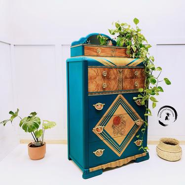 Art Deco waterfall style tall dresser /boho dresser/bohemian style/bold chest of drawers/ Hollywood Regency/ green blue dresser/ wood grain by withlovefurniture10