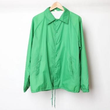 vintage men's 1990s kelly GREEN indie rock MODEST mouse style stranger things button lined windbreaker JACKET -- size large by CairoVintage