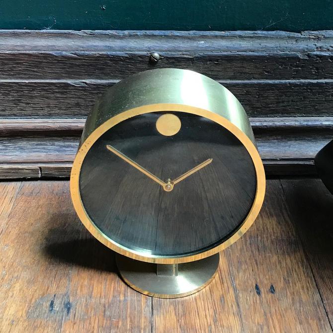 70s Howard Miller Brass Museum Desk Clock Vintage Mid Century Modern George  Nelson West Germany Designer Object Movado by BrainWashington