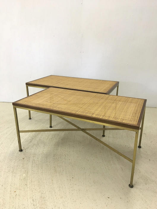 Pair of Paul McCobb Cane and Metal Benches by retrocraftdesign
