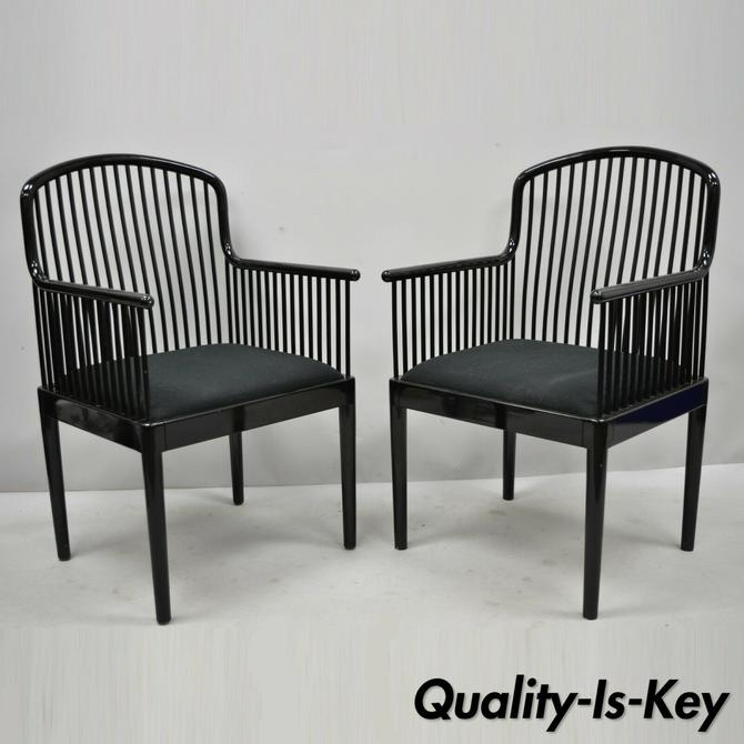 Pair Black Lacquer Modern Andover Arm Chairs by Davis Allen for Stendig (A)