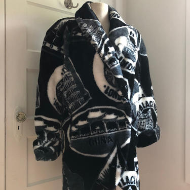 1980s Black & White World Traveler Print All Over Faux Fur Coat by Regal Plush - size small/med by VeeVintageShop