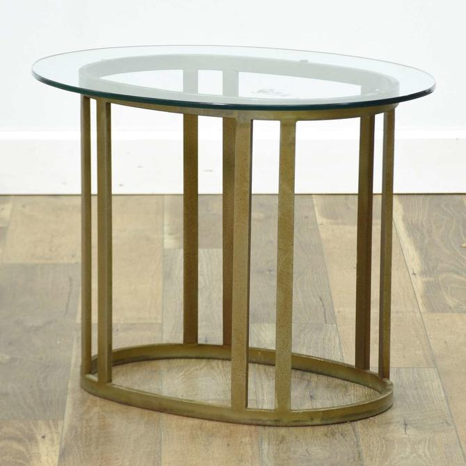 Modernist Brass Open Frame Oval End Table W Glass Top