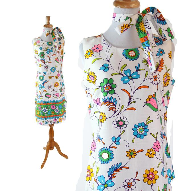 1960s MOD Dress Flower Novelty Print  White Blue Green Size M L by WalkinVintage