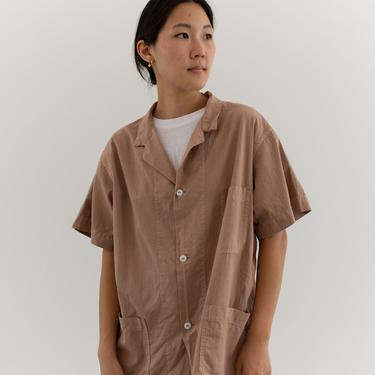 Vintage Overdye Dusty Pink Short Sleeve Shirt Jacket   Simple Blouse   Cotton Work Shirt   M L   by RAWSONSTUDIO