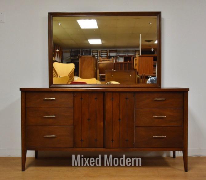 Broyhill Saga Walnut Dresser and Mirror by mixedmodern1