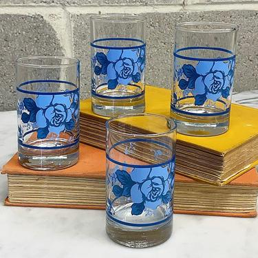 Vintage Juice Glasses Retro 1960s Mid Century Modern + Crisa by Libbey + Clear Glass + Blue Flower + Set of 4 + Kitchen Decor + Drinking by RetrospectVintage215