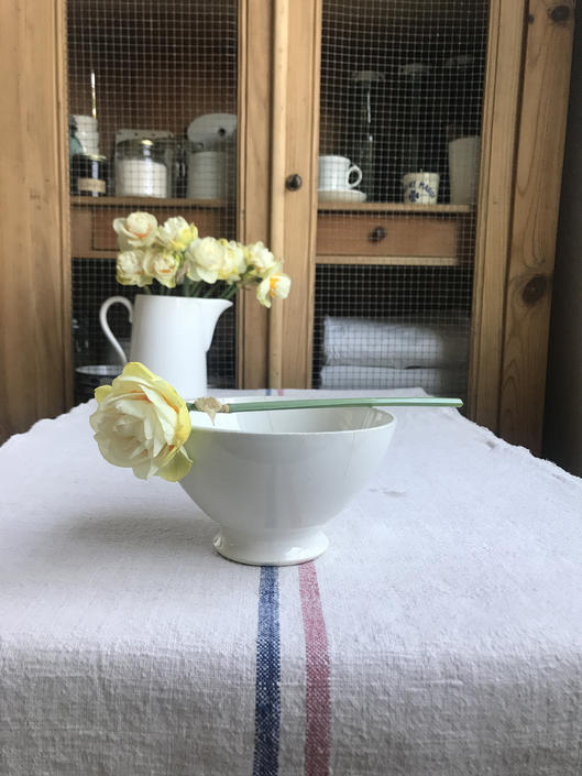 Lovely vintage French white ironstone cafe au lait bowl- FB1 by Grainsacfrenchvintag