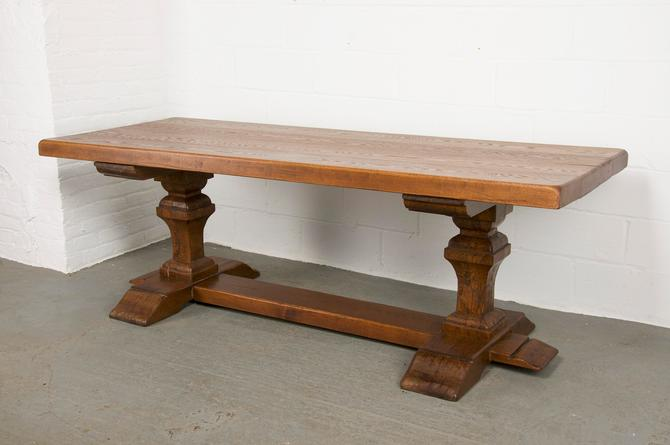 Antique French Country Style Oak Trestle Double Pedestal Dining Table by StandOutSpaces