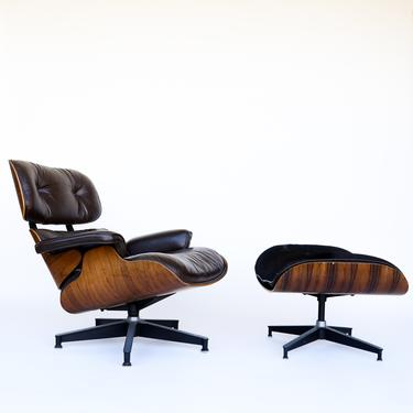 Eames Lounge Chair (670/671) in Rosewood and Brown Leather with Ottoman for Herman Miller