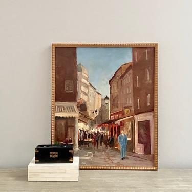 Vintage Oil Painting Male Portrait Cityscape Toulon France by ModRendition