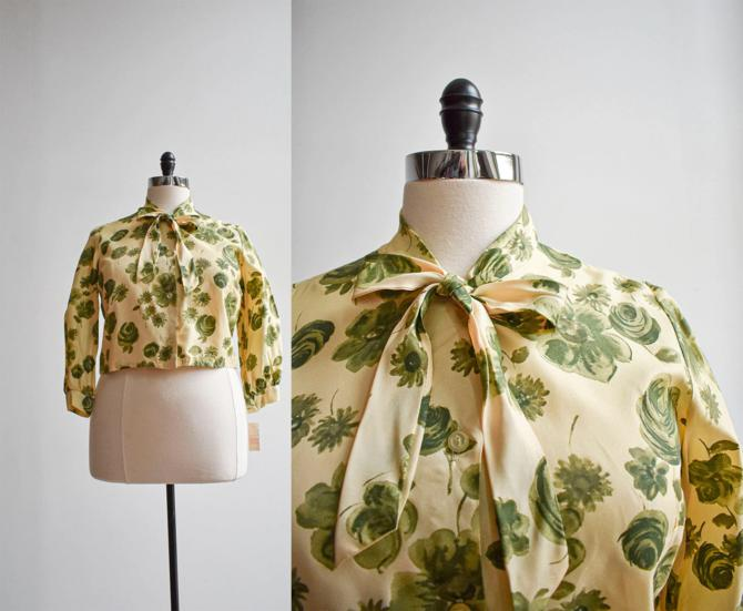 1950s Floral Blouse with Bow Tie by milkandice