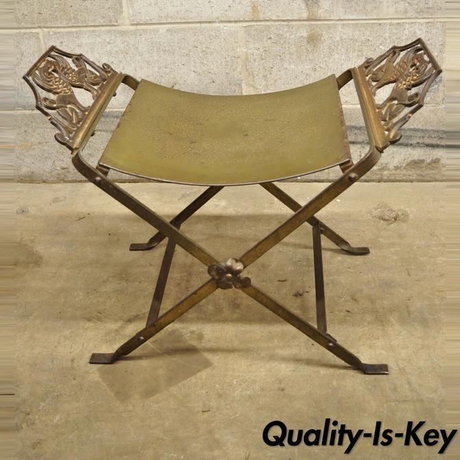 Wrought Iron Art Nouveau Gothic X-Form Bench Lion Griffins Gold Brass Finish