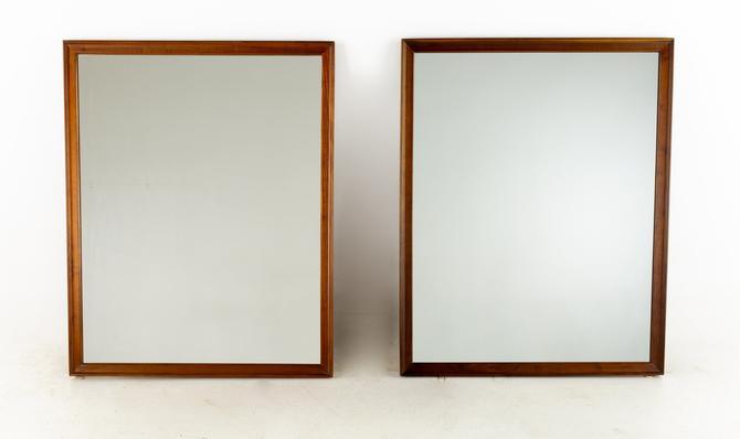 Kipp Stewart for Drexel Mid Century Walnut Mirror - Pair - mcm by ModernHill