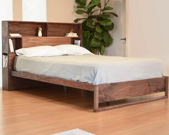 Platform Bed in Walnut, Queen bed, King bed, Underbed storage, Easy assembly, Non-toxic finish by ThisIsUrbanMade