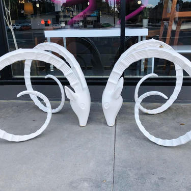 white lacquered Ibex rams head table bases in the manner of designer Alain Chervet by AtomicJunkiesGallery