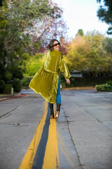 Chartreuse Velvet Koi Kimono by jennafergrace
