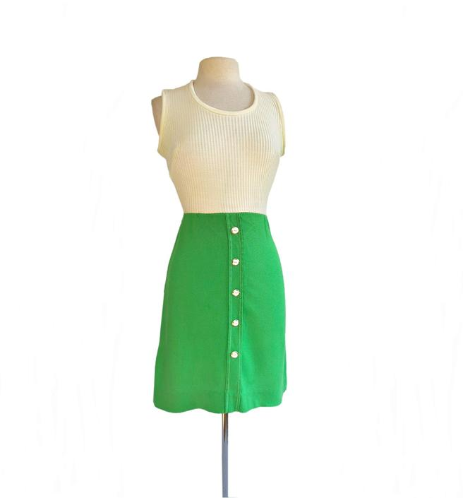 Vintage 70s green and white knit dress| A-line two tone tennis style by Vintagiality