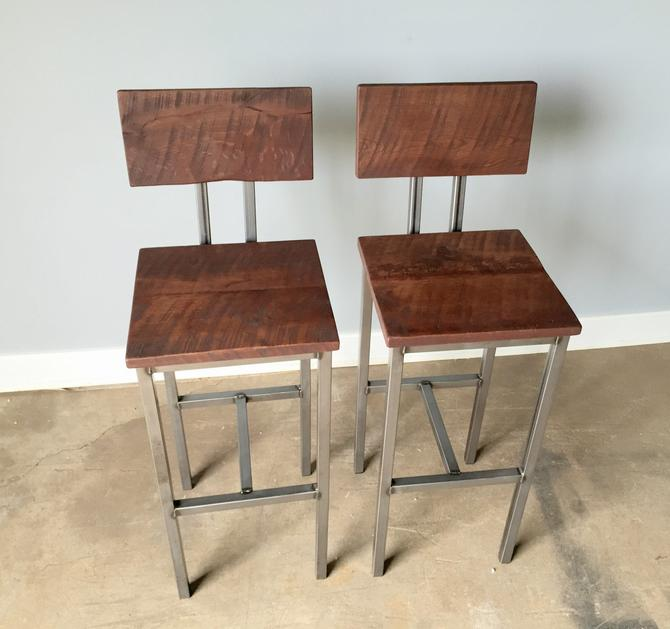 Reclaimed Wood Bar Stools With Industrial Metal Base, Set of 2 by wwmake