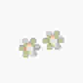 Brass Daisy Earrings with Stone